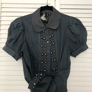 Beaded, blue, collared blouse.